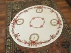 VINTAGE CHRISTMAS TABLECLOTH BELLS BOWS  PINE CONES 54 ROUND AS IS