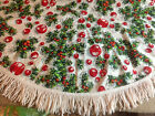 Vintage Round Christmas Tablecloth Christmas Balls and Evergreens Fringe