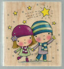 PENNY BLACK Rubber Stamp STAR GAZING Holidays Christmas Winter Night Love
