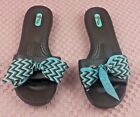 OKA BEE OKA b Brown slip on sandals size 85 Made in USA Rubber Bow Blue S284