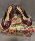 Vtg MARC JACOBS Front butterfly Bow open toe slingbacks pumps shoes 37 Burgundy