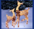 2PC LIGHTED DOE  FAWN CHAMPAGNE DEER REINDEER CHRISTMAS YARD OUTDOOR DECOR NEW