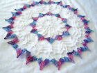 Med Size Purple Blue Pink Variegated White Colored Hand Crocheted Round Doily11