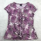 ANN TAYLOR Pink Leopard Animal Print Stretch V Neck Tee T shirt Top Size Large