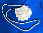 NEW Beaded Tassels Sequin Ivory Shoulder Evening Bag Velcro Closure