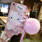 Cute Hello Kitty Mirror Plush Ball Strap Clear Case Cover for iPhone 8 iphoneX