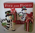 Fitz and Floyd Frosty's Frolic Salt and Pepper Shaker Christmas