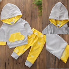 US Kids Baby Boy Girls Clothes Set Hooded Tops+ Long Pants Floral Outfits 0 18M