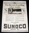 1921 OLD MAGAZINE PRINT AD, SUN, SUNOCO MOTOR OIL, TRY AVOIDING CARBON TROUBLES!