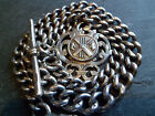 Antique Chunky Graduated Solid Silver Albert Pocket Watch Chain + Cricket Fob