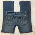 MISS ME Jeans Womens SIZE 29 Bootcut Medium Distressed Vintage Pants Flap EUC