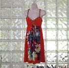 WOMENS MOA MOA FUN BRAIDED SPAGHETTI STRAP BEACH DRESS ORANGE FLORAL SIZE MED