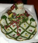 FITZ AND FLOYD CLASSIC RENAISSANCE CHRISTMAS SANTA PLATTER SERVING DISH W/BOX