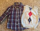 CHEROKEE TODDLER PLAID SHIRT AND SWEATER VEST SZ 24mo