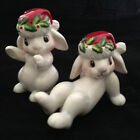 Pair of Fitz and Floyd Christmas Bunny Blooms Tumbler Figurines