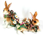 Fitz & Floyd Woodland Spring Rabbit Figurines Pair in Box Beautiful in Box