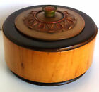 Norwegian Folk Art Carved Wooden Box M.L. Helle Norge Round w/lid Ca.1920's-40's