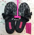 Betsey Johnson Floral Lace Black Slippers Size Medium NEW