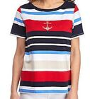 Alfred Dunner shirt size Extra Large Red White Blue Tan Stripes w Silver Anchor