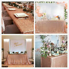 Sparkly Rose Gold Sequin Tablecloth Rectangle Table Overlay for Wedding Party
