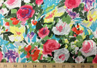 Watercolor Abstract Bold Bright Floral Flower Garden Cotton Fabric a3 34