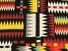 YAMA ONLY Fabric Navajo Native American Stripe Design on Black Cotton 7 1 2 yd