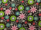 Pink  Black Floral Funky Flowers Pink Blue Green Purple Cotton Quilting t6 12