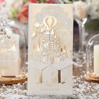 CW5093 Gold White 3D Shiny Love Castle Wedding Invitations Cards