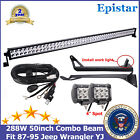50inch 288W LED Light Bar+87 95 Jeep Wrangler YJ Mount Bracket+ Free Kit+4 Pods