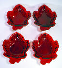 4 Vintage ROYAL RUBY Amberina CREST Red Glass MAPLE LEAF Candy DISH Nut BOWL Lot