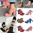 Womens Block High Heel Party Sandals Ankle Strap Thong Lace Up Casual Shoes Size