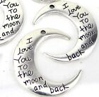 6 Crescent Moon Charms Antique Silver I Love You to The Moon and Back Pendants