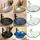 Bathroom Tempered Glass Vessel Sink Bowl Faucet Drain Combo Round Oval Artistic
