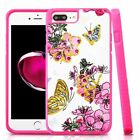 For Apple iPhone 7 Plus 8 Plus Hot Pink Flowers Hard TPU Hybrid Case Cover