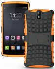 NEON ORANGE GRENADE GRIP RUGGED TPU SKIN HARD CASE COVER STAND FOR ONEPLUS ONE