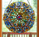 Stained Glass Round Suncatcher 27 inch Window Panel Multi Color Victorian Theme