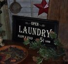 Primitive Antique Vtg Style Farmhouse Framed 5 CENT LAUNDRY Wall Sign Gift Idea