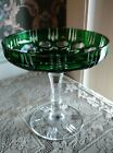 Vintage pedestal emerald green crystal cut dish / compote excellent condition
