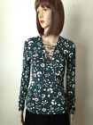 EXPRESS Dark Teal Green Stretch Knit LACE UP Front FITTED FLORAL BLOUSE NEW XS