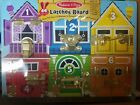 Melissa and Doug Latches Wooden Activity Board locks doors counting puzzle NEW