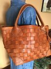 ROBITA Weave Saddle Brown Woven Leather Tote Shopper Carryall Bag EXQUISITE