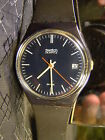 Men's Swatch OXFORD NAVY Black White Date Retro Watch 1985 GN401 Early Working