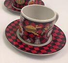 Sakura Sue Zipkin Roadside Cup and Saucer Route 66 Red Black Checkerboard