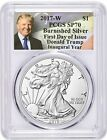 2017 W 1 Burnished Silver Eagle SP70 PCGS First Day of Issue TRUMP In Stock NOW
