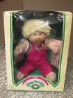 NEW Cabbage Patch Kids In Box 1985 Blond Girl w/ Pacifier Red Overalls Adria