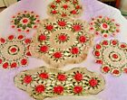 Seven 7 Hand Crochet Vintage Doilies with Red Roses