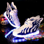 Boys Girls USB LED Light Up Shoes Kids Wings Trainers Luminous Flashing Sneakers