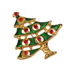 Merry Christmas Snowman Tree Deer Heart Crystal Brooch Pins Santa Claus Gift