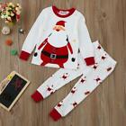 hristmas Newborn Kid Baby Girl Boy Outfits Clothes Print T-shirt Tops+Pants Set