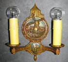 VTG DECO DUTCH WINDMILL CAST IRON SCONCE CHANDELIER FIXTURE HAND PAINTED 1930's